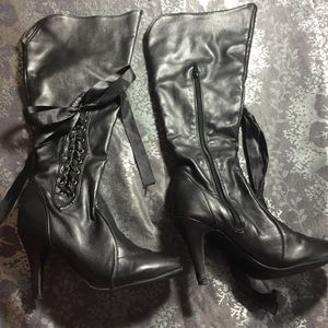 Shoes - Black heeled boots knee-high lace up zipper 7.5/8